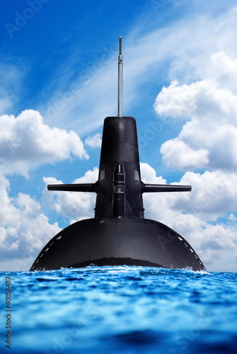 Nuclear submarine in the ocean. Fotobehang