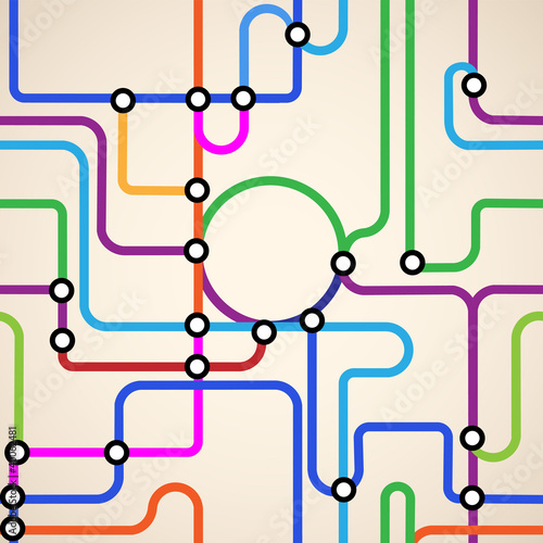 Poster de jardin Route Abstract subway map seamless