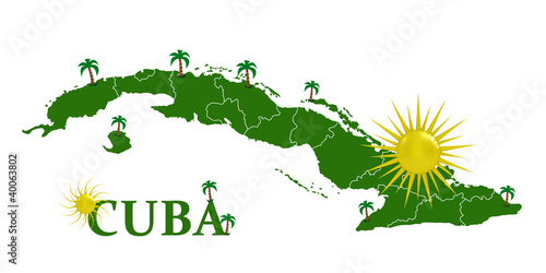 Valokuva  Map of Cuba with the sun and palm trees