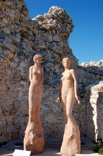 Two Women' Statues On The Top Of The Eze Garden, France