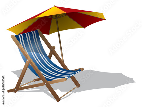 Beach chair with umbrella Poster