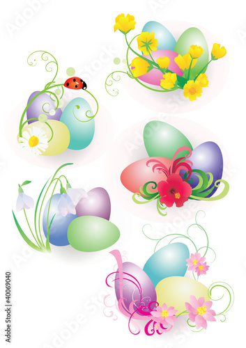 Photo Stands Birds, bees color easter eggs with flowers and ladybird set isolated on whit