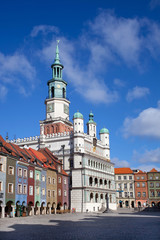Houses and Town Hall in Old Market Square, Poznan, Poland