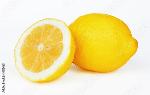 Fotografering  Two lemons on white