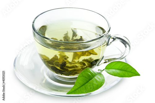 Foto op Aluminium Thee Cup with green tea and green leaves.