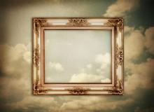 Vintage Frame On Grunge Paper Clouds Image
