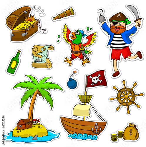 Photo sur Toile Pirates a set of pirate related icons