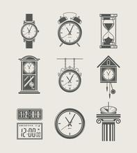 Retro And Modern Clock Set Ico...