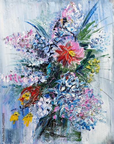 obraz-olejny-bukiet-wiosennych-kwiatow