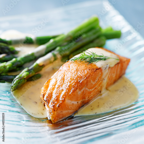 Fotografie, Obraz  Salmon fillet with asparagus and yellow sauce