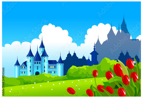 Poster Castle Fantasy castle on green landscape