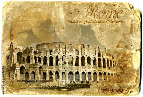 Photo  Colosseum vintage card postal