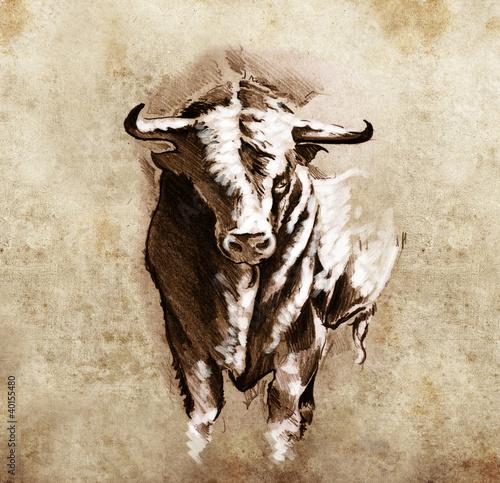 Fotografie, Obraz  Sketch of tattoo art, spanish bull, dangerous bull with beaked h