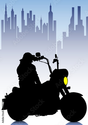 Poster Motocyclette Motorbike of tourist in city
