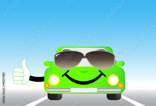 Foto op Canvas Cars cartoon cheerful car on road and showing thumb up