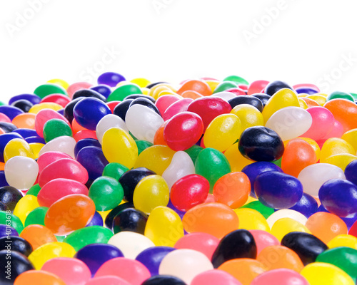 Jelly beans isolated on a white background.