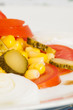 salad of tomatoes, onions, cucumbers and corn