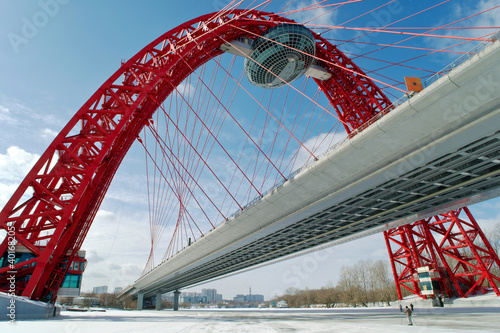 Modern suspended bridge (Zhivopisny bridge) in winter, Moscow Russia