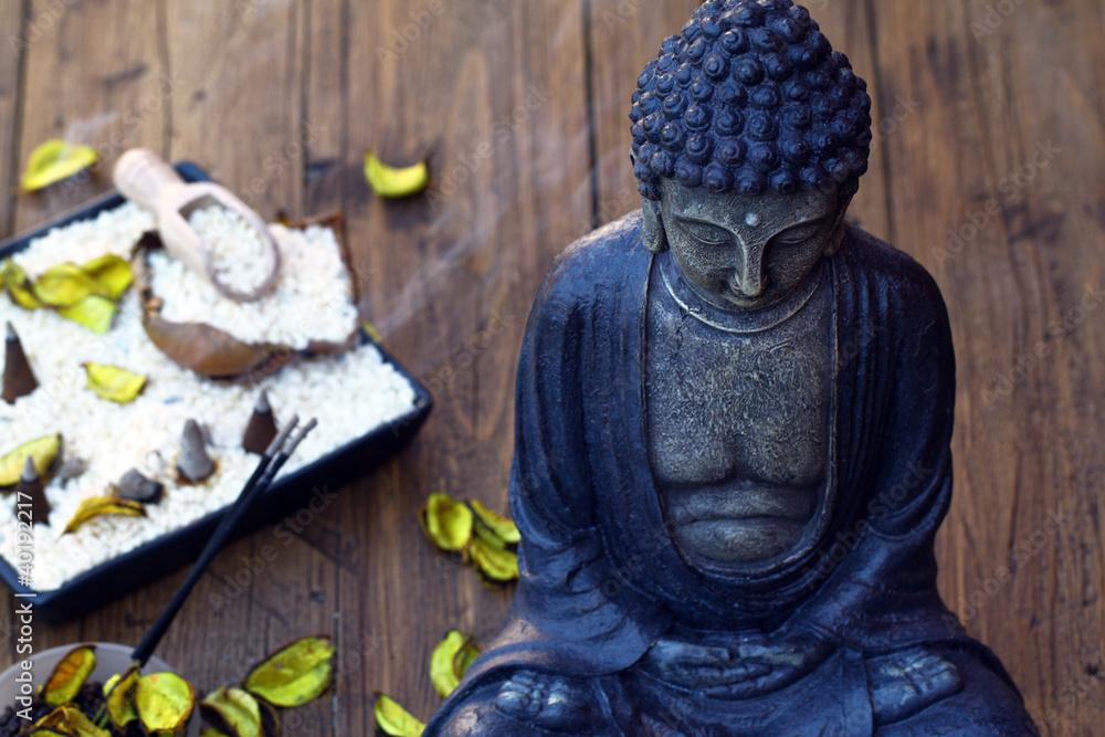 Plissee mit Motiv - Buddhafigur