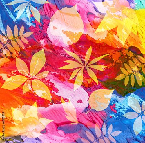 abstrakcjonistyczny-akrylowy-malujacy-tlo-z-lisciem