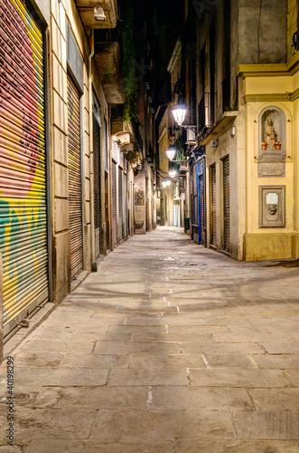 Fototapeta barcelona scena-nocna-w-dzielnicy-gotyckiej-barcelona-hiszpania