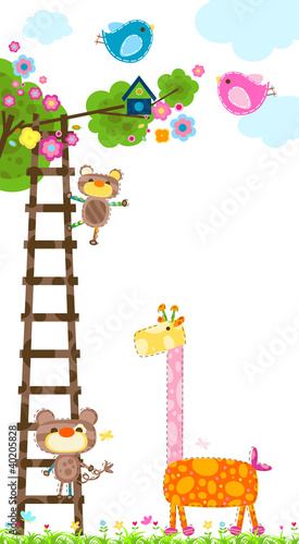 Poster Vogels, bijen giraffe and tree
