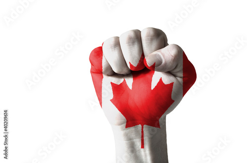 Spoed Foto op Canvas Canada Fist painted in colors of canada flag