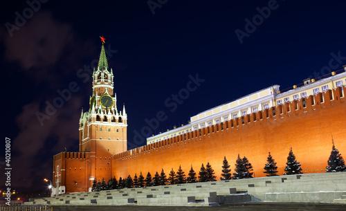 Fotografia Spasskaya tower of Kremlin, night view. Moscow, Russia