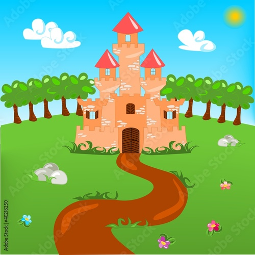 Poster Kasteel Cartoon illustration of castle with landscape