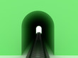 Leinwanddruck Bild - Green railway tunnel №1