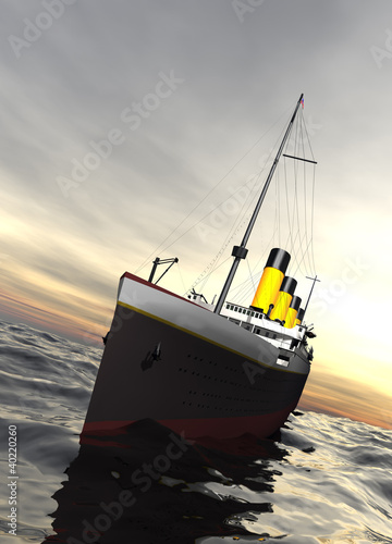 Canvas Titanic ship sailing in calm evening waters