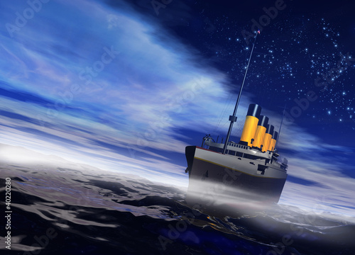 Titanic ship sailing on the night ocean with fog rising Fotobehang