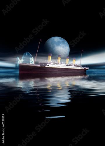 Canvas Print Titanic ship sailing at night with moon and iceberg