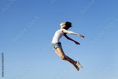 Woman flying with copy space Poster