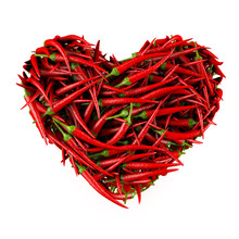 Heart Made Of Chili Pepper. 3D...