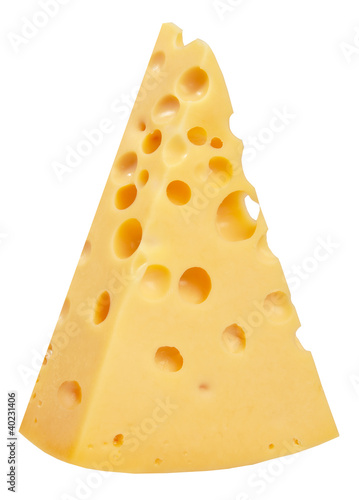 The perfect piece of swiss cheese isolated on white background w