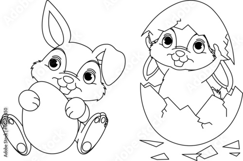 Printed kitchen splashbacks Fairytale World Easter Bunny coloring page