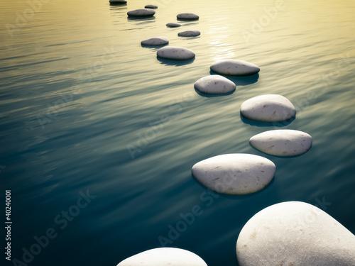 Akustikstoff - step stones sunset