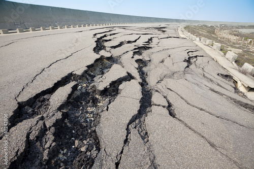 Photo cracked road after earthquake