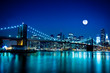 Night Scene Brooklyn Bridge and New York City