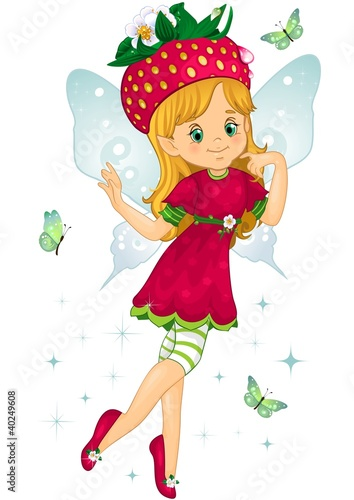 Foto auf Gartenposter Die magische Welt Fatina fragolina-Strawberry fairy