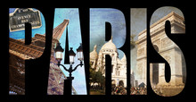 Lettres PARIS, Fond Collage Ph...