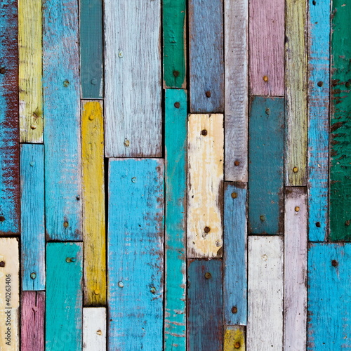 Decorative and colorful wood planks