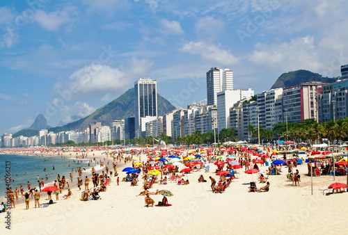 Foto-Fahne - Beach Leme and Copacabana in Rio de Janeiro (von Ekaterina Belova)