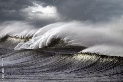 Stickers pour porte Eau Stormy waves
