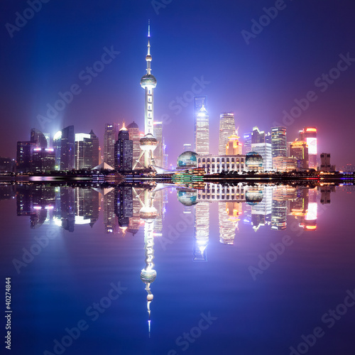 Fototapety, obrazy: shanghai skyline at night