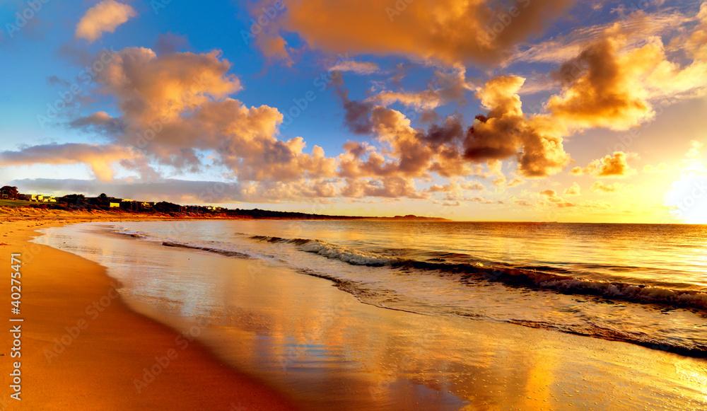 Fototapety, obrazy: beautiful sunset on the  beach