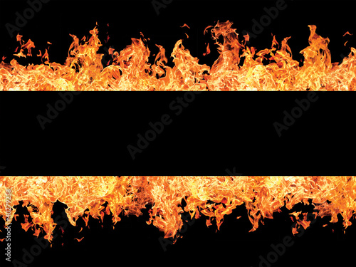 Foto op Plexiglas Vlam Black stripe and fire flames