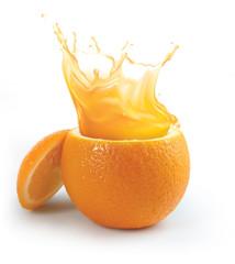 Fototapeta Orange juice splashing isolated on white