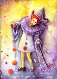 ilustracja przedstawiająca klauna kręcącego  piłeczkami